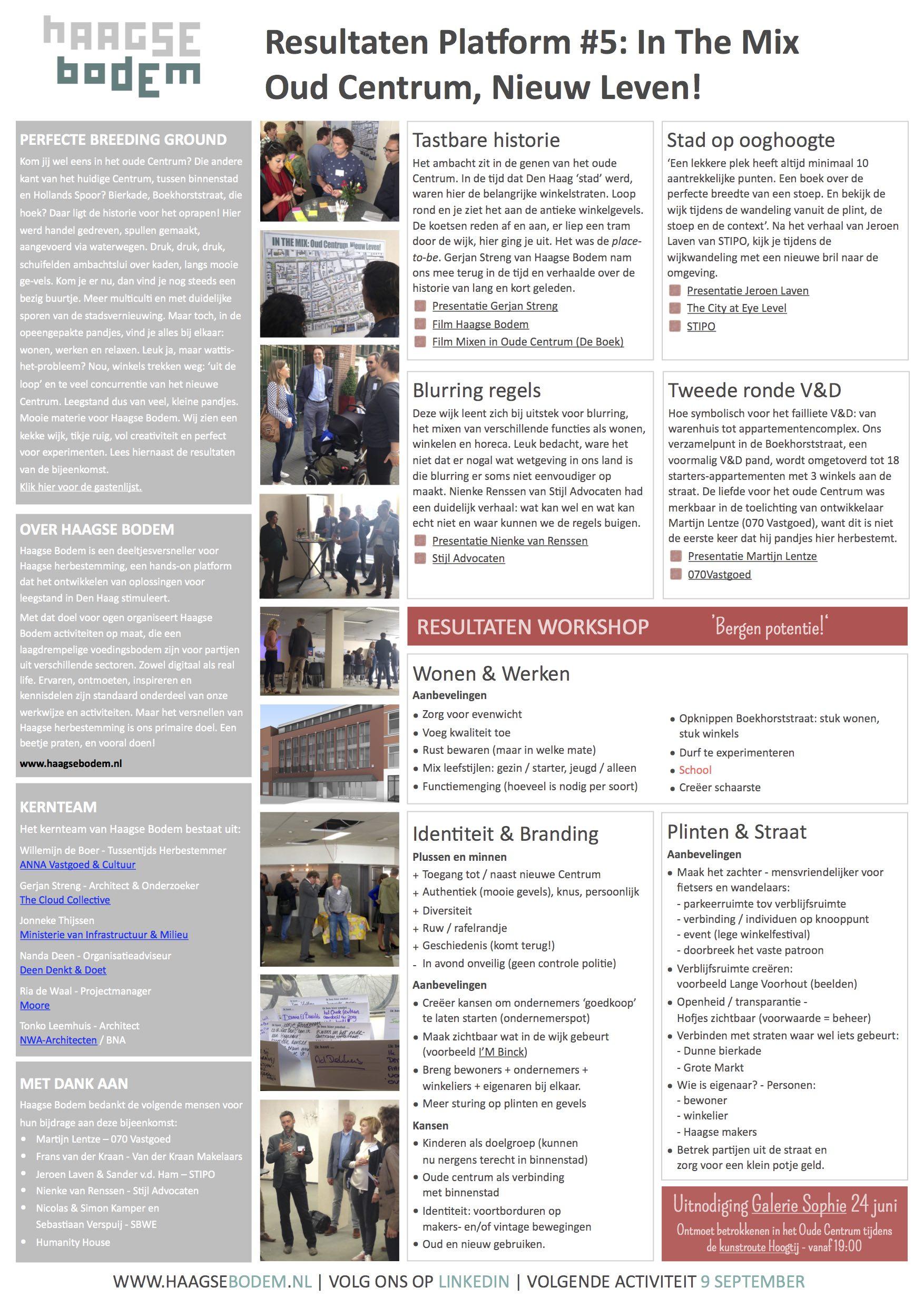 Haagse Bodem Platform#5: Resultaten Oude Centrum